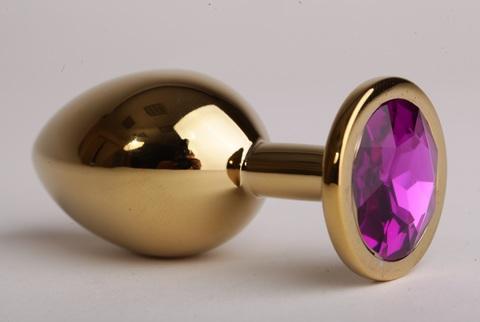 Анальная пробка золотая с фиолетовым кристаллом 3,4х8,2, сталь
