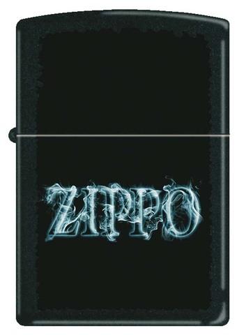 Зажигалка Zippo, латунь с покрытием Black Matte, чёрная с надписью