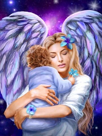 Алмазная Мозаика 40x50 Ангел и дитя (арт. SGA10070 )