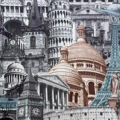 Микровелюр Architecture blue-grey (Архитектура блу-грей)