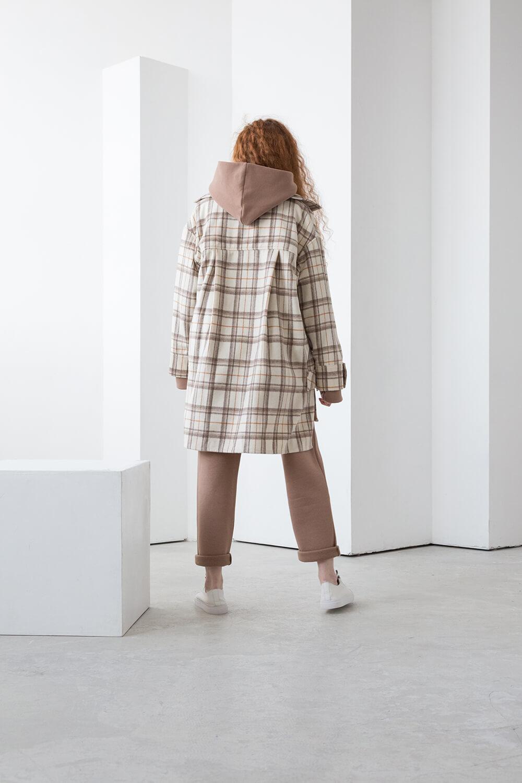 Куртка-рубашка на кнопках,клетка молочно-бежевая