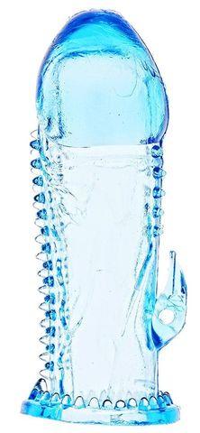 Голубая насадка с усиками и отростком для стимуляции клитора - 13,5 см.