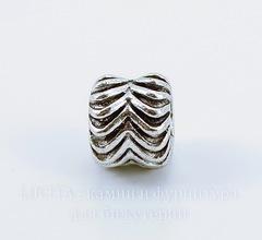 Бусина металлическая для пандоры 10х8 мм (цвет - античное серебро)
