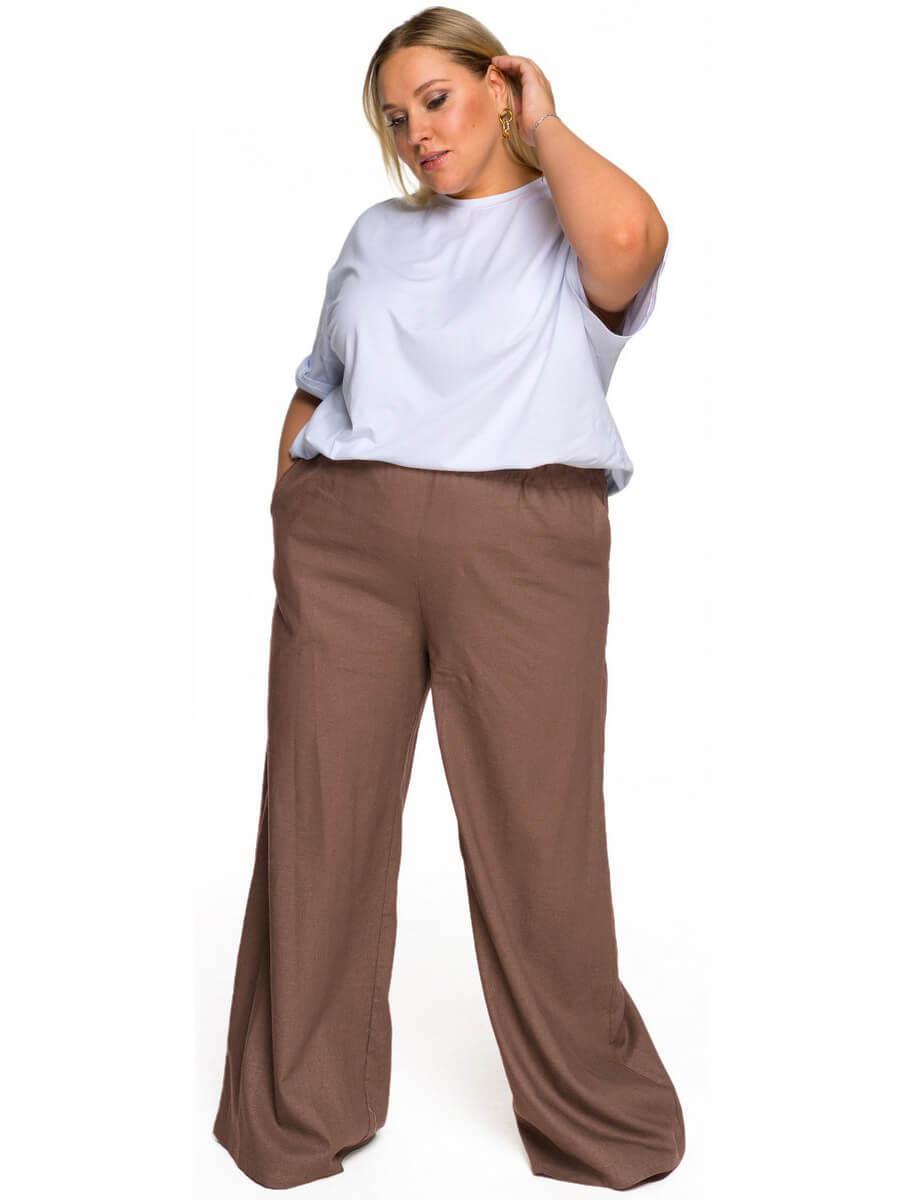 Широкие брюки изо льна мокко