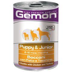 Консервы для щенков Gemon Dog кусочки курицы с индейкой