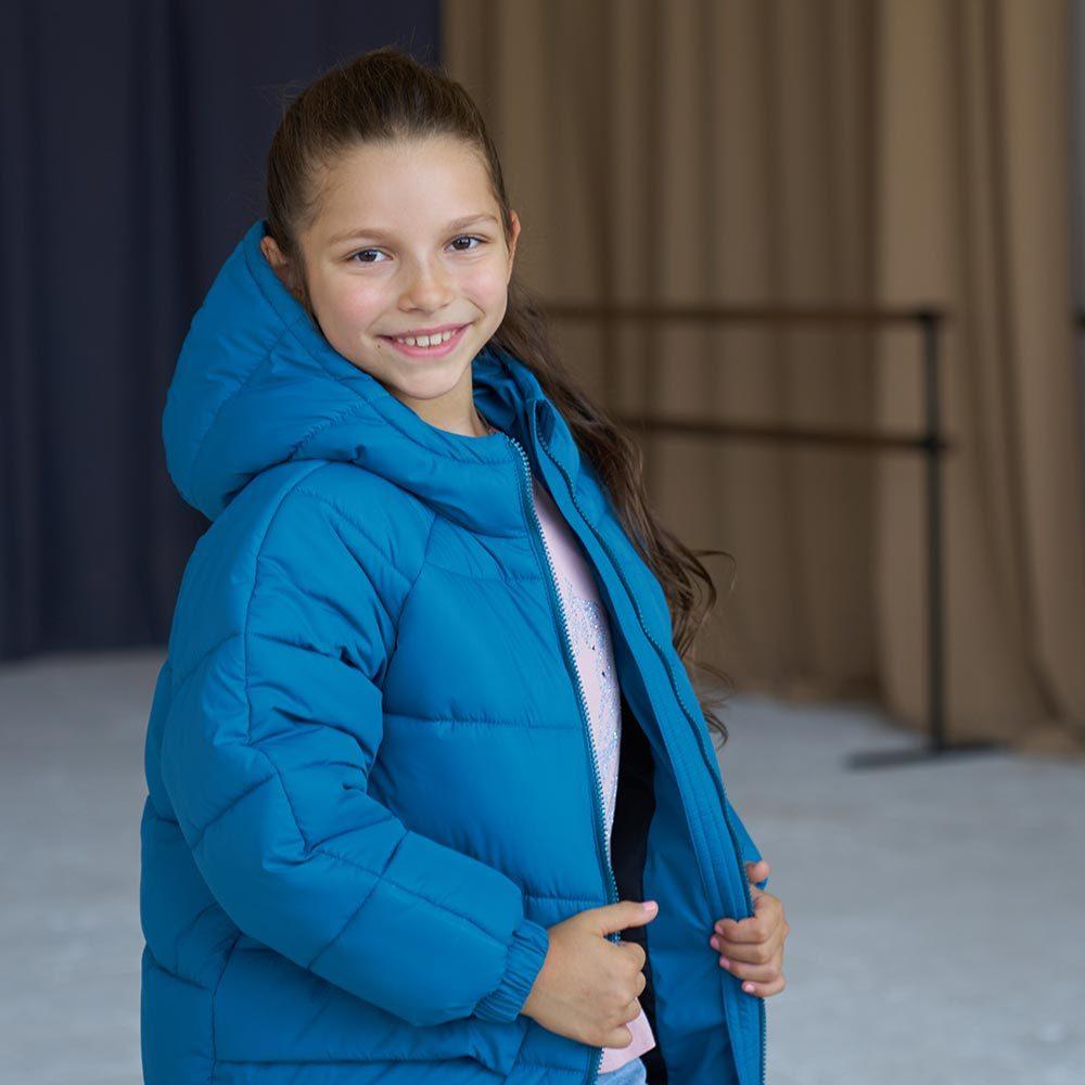 Дитяча подовжена зимова куртка в кольорі морська хвиля для дівчинки