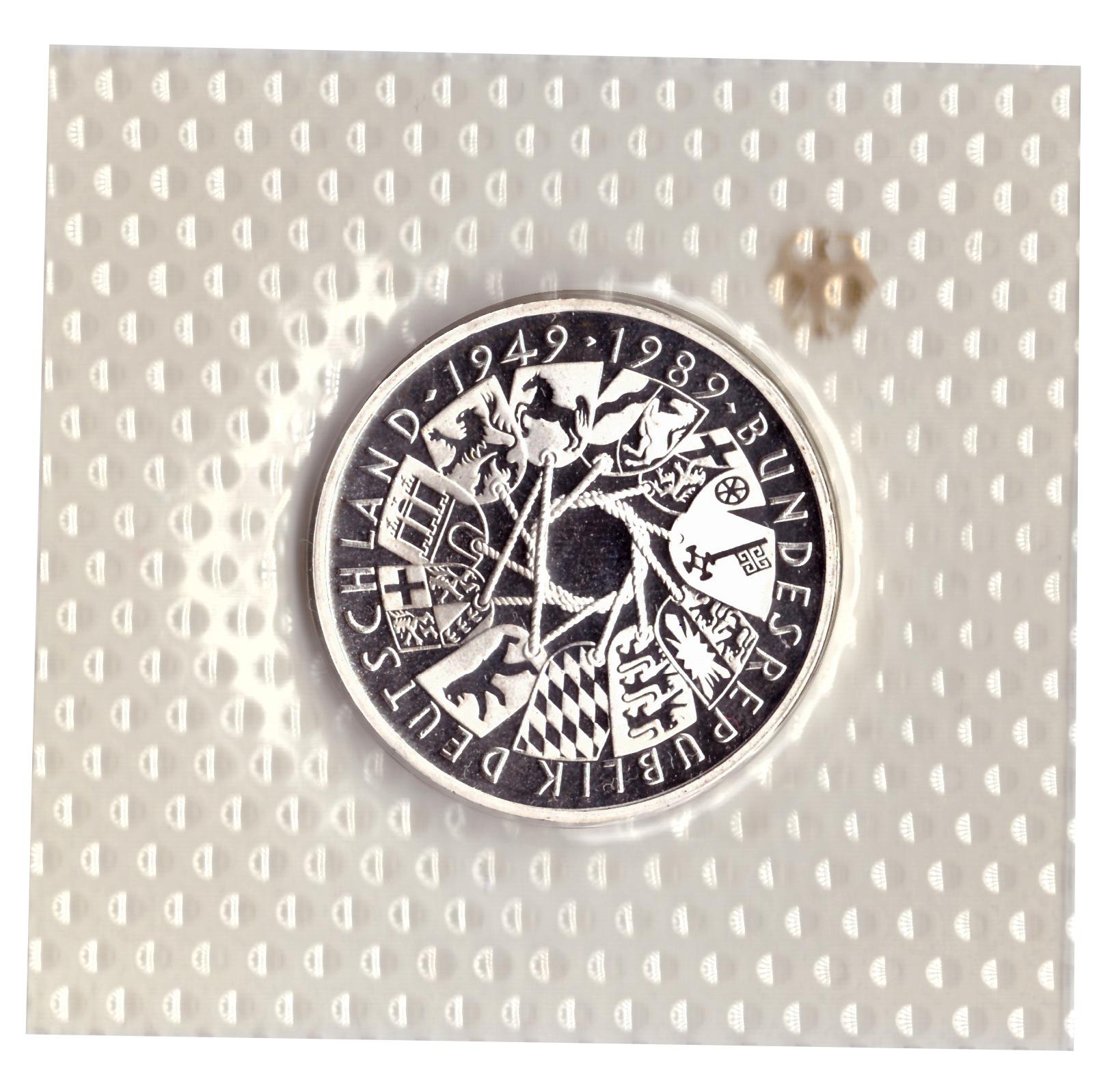 10 марок 1989 год (G) 40 лет ФРГ, Германия. PROOF в родной запайке