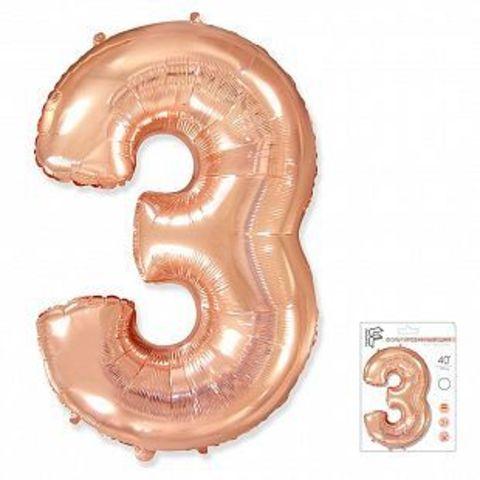 Цифра три - розовое золото