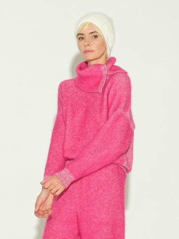 Женский свитер розового цвета из мохера и кашемира - фото 4