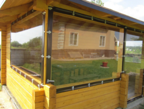 Мягкие окна из пвх 1000 мкр. (окантовка oxford), 1 м2.