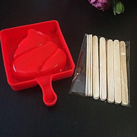 Силиконовая форма для выпечки Эскимо красное с деревянными палочками
