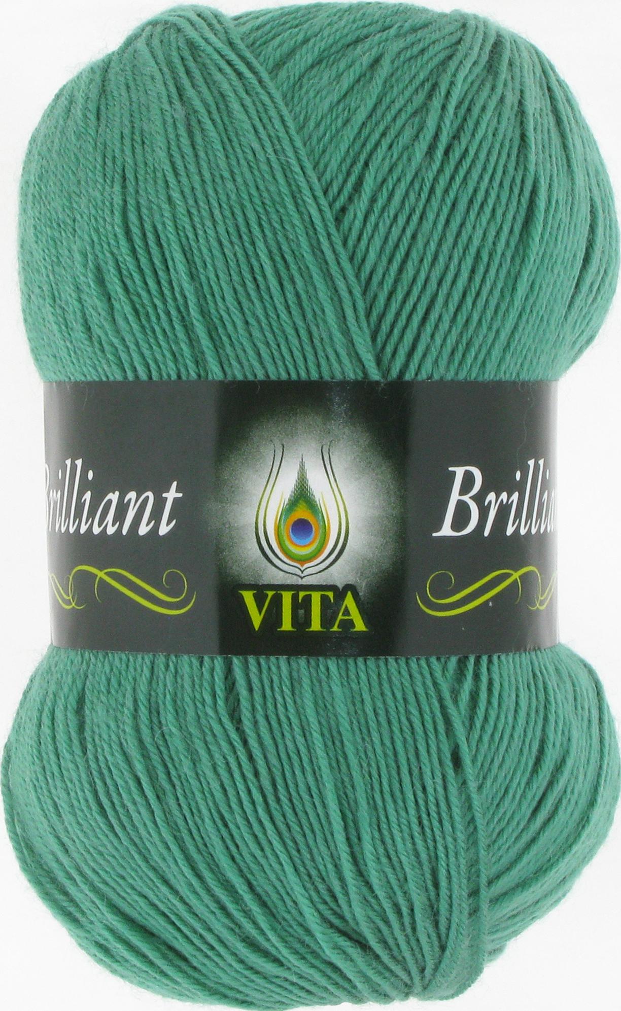 Пряжа Vita Brilliant зеленая бирюза 5117