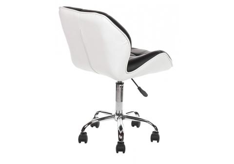 Офисное кресло для персонала и руководителя Компьютерный стул Trizor черный / белый 52*52*77 Хромированный металл /Черный кожзам / белый кожзам