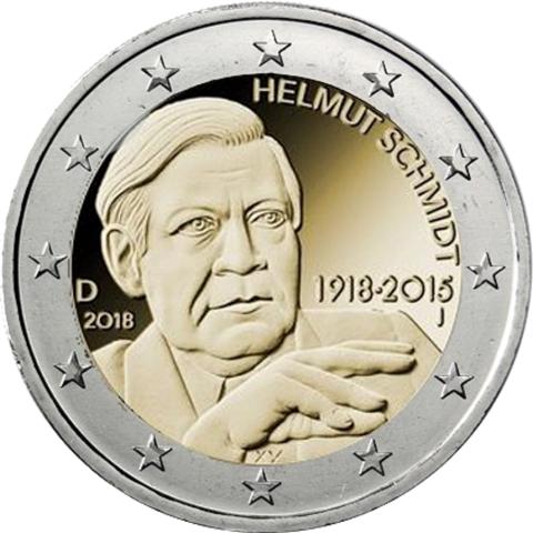 2 евро 2018 Германия - Хельмут Шмидт