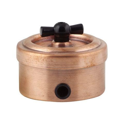 Выключатель металлический 2 клавишный (Медь)