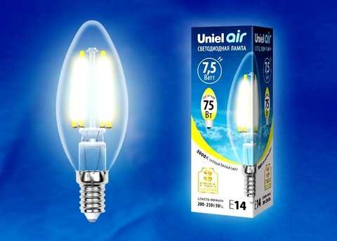 Uniel Лампа LED-C35-7,5W/WW/E14/CL Air (свеча теплый свет)