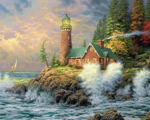 Алмазная Мозаика + Багет 40x50 Дом с маяком на берегу океана