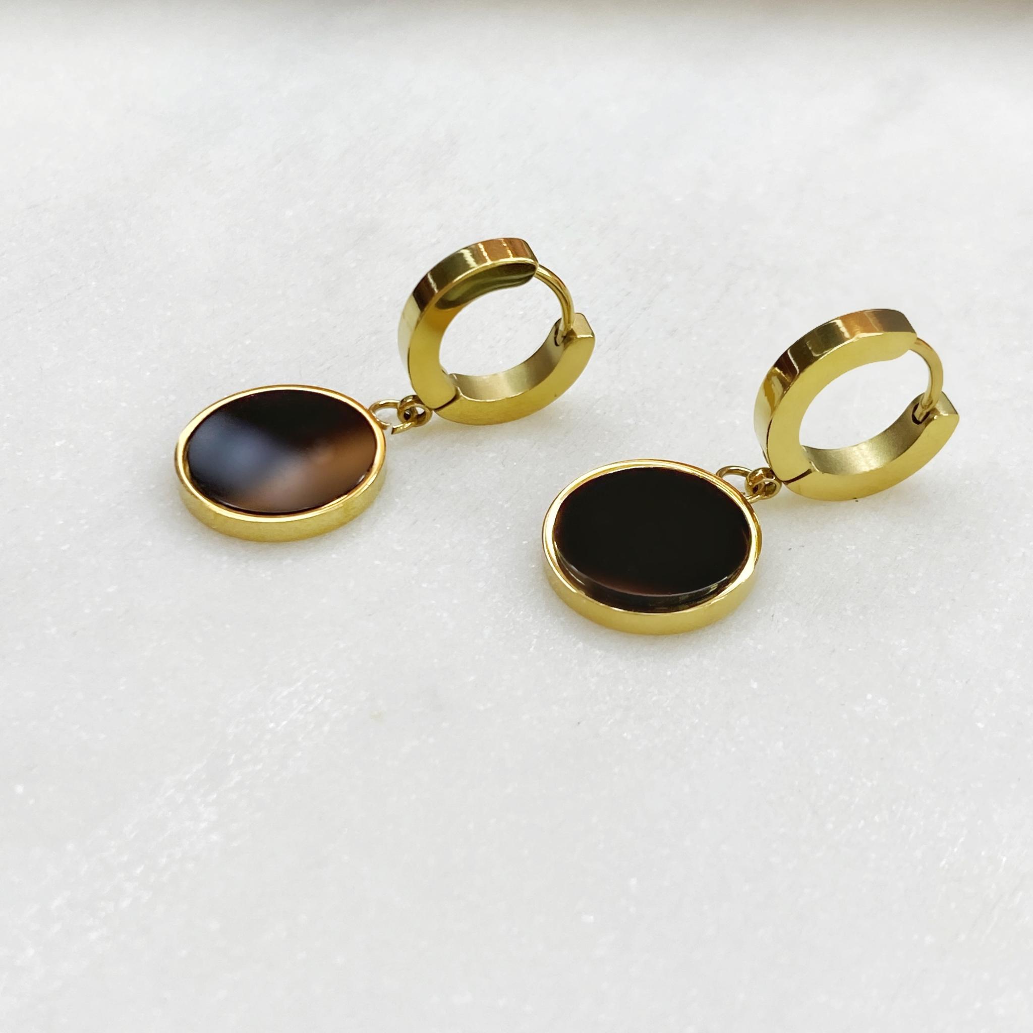 Серьги-конго с круглыми подвесками, сталь (черный, золотистый)