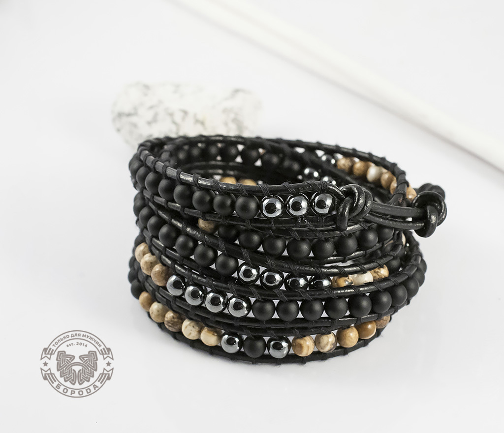 BS551 Мужской браслет «Чан Лу» из натуральных камней, ручная работа. «Boroda Design» фото 03