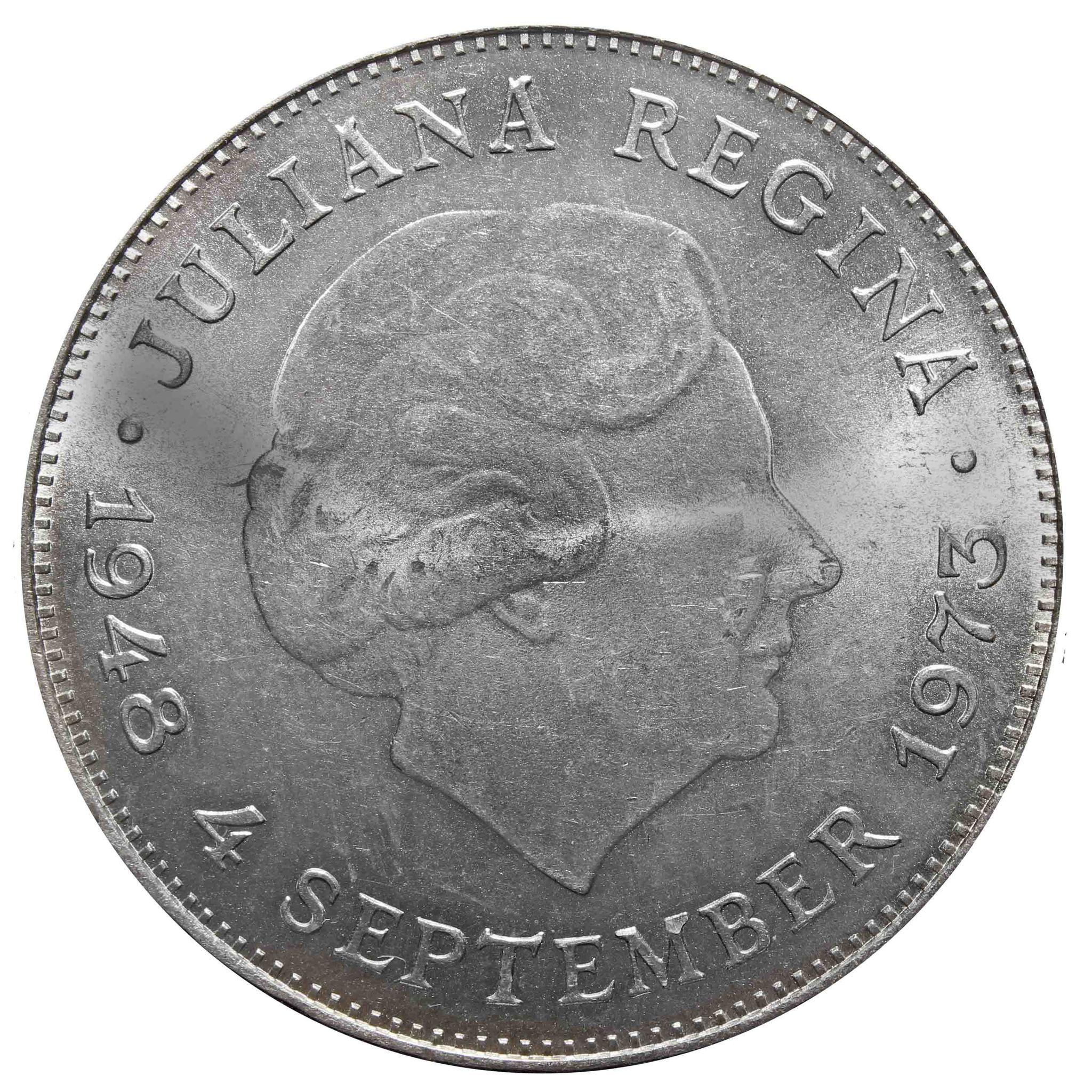 10 гульденов. 25 лет правления Королевы Юлианы, Нидерланды. 1973 год. Серебро. AU