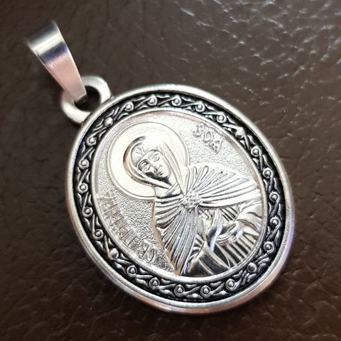 Нательная именная икона святая Зоя с серебрением кулон с молитвой