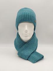 Мужской комплект шапка с отворотом и шарф, бирюзовый