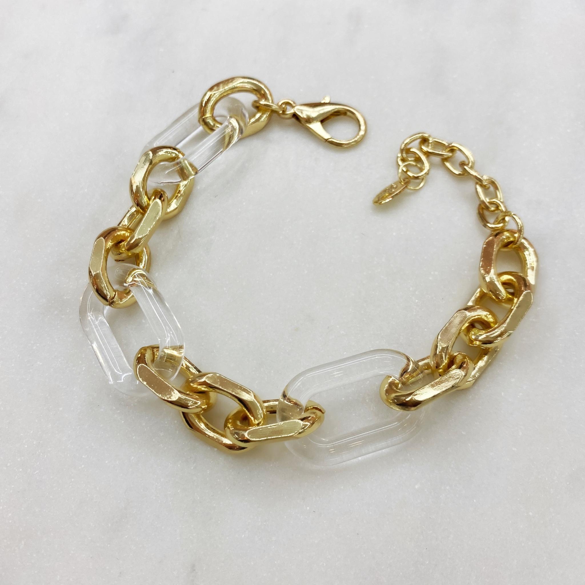 Браслет-цепь с комбинированными звеньями (золотистый, прозрачный)