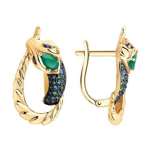 727170 - Серьги Змеи из золота с миксом камней
