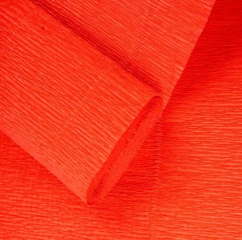 Бумага гофрированная, цвет 981 оранжевый, 140г, 50х250 см, Cartotecnica Rossi (Италия)