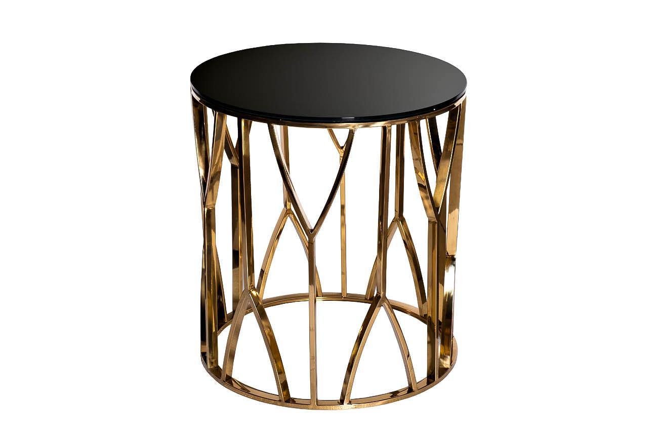 Стол журнальный 13RXET3103-GOLD стекло черн./золото d50*55см