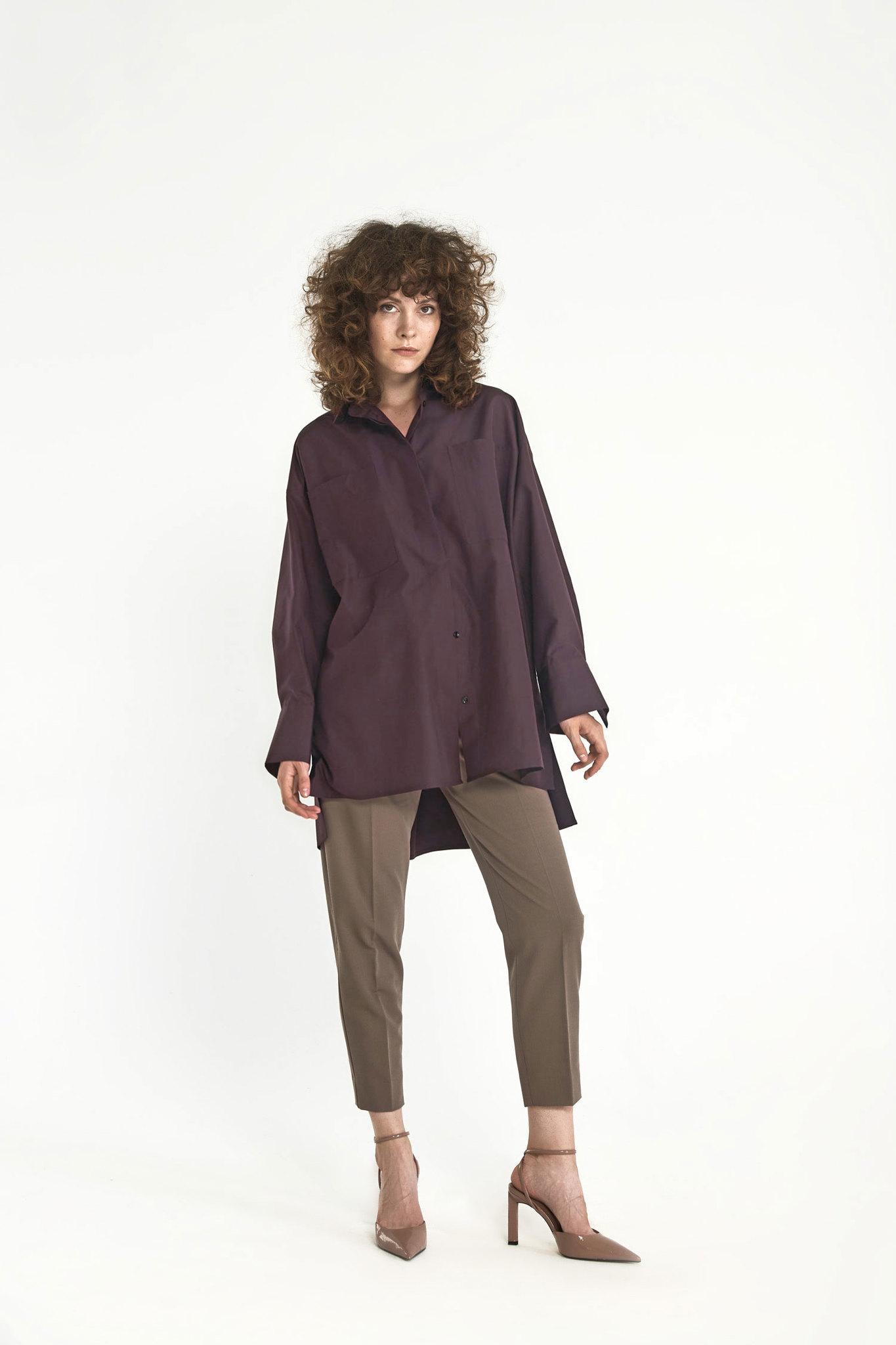 Рубашка оверсайз в мужском стиле, винный