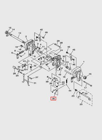 Опора замка наклона  для лодочного мотора T15, OTH 9,9 SEA-PRO (13-36)