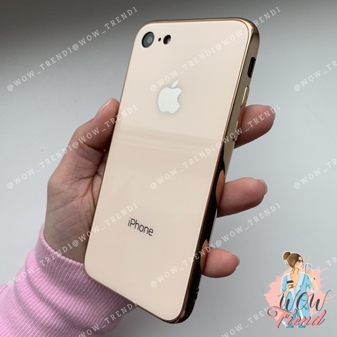 Чехол iPhone 7/8 Glass Case Logo /gold/