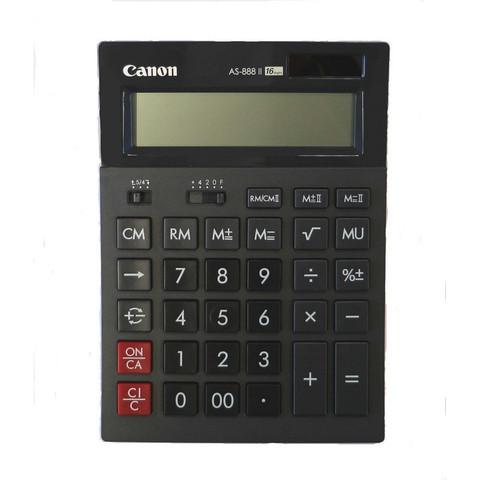 Калькулятор настольный ПОЛНОРАЗМЕРНЫЙ Canon AS-888 II 16-разрядный черный