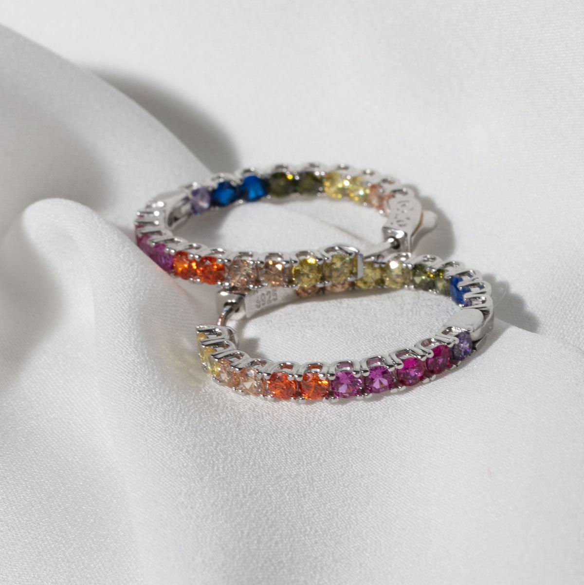Серьги-конго с круглыми цирконами 3см мультицветный (серебро 925)