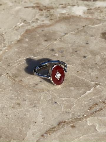 Кольцо Аврора из серебра с бордовой эмалью