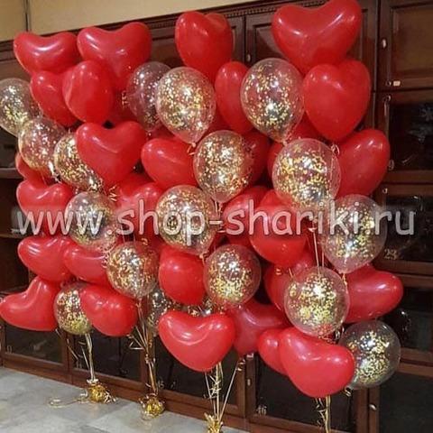 Фонтан из шаров сердца и шары с конфетти