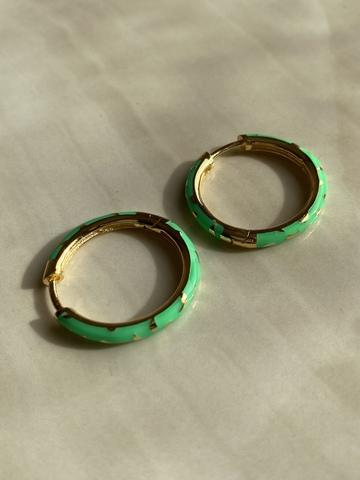 Серьги Тамали зеленые, позолота