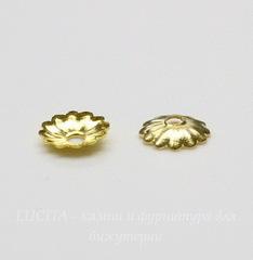 Шапочка для бусины текстурная (цвет - золото) 5 мм, 20 штук