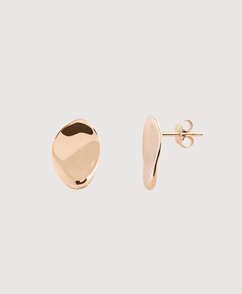 Серебряные овальные серьги-пусеты с золотым покрытием