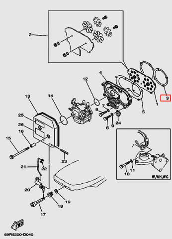 Прокладка впускного клапана для лодочного мотора Т30 Sea-PRO (4-3)