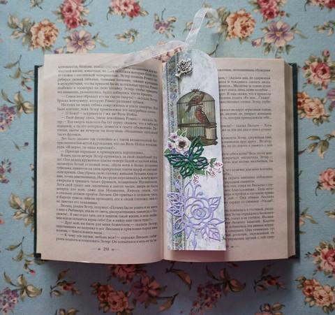 """Закладка для книги """"Птичка в клетке"""""""