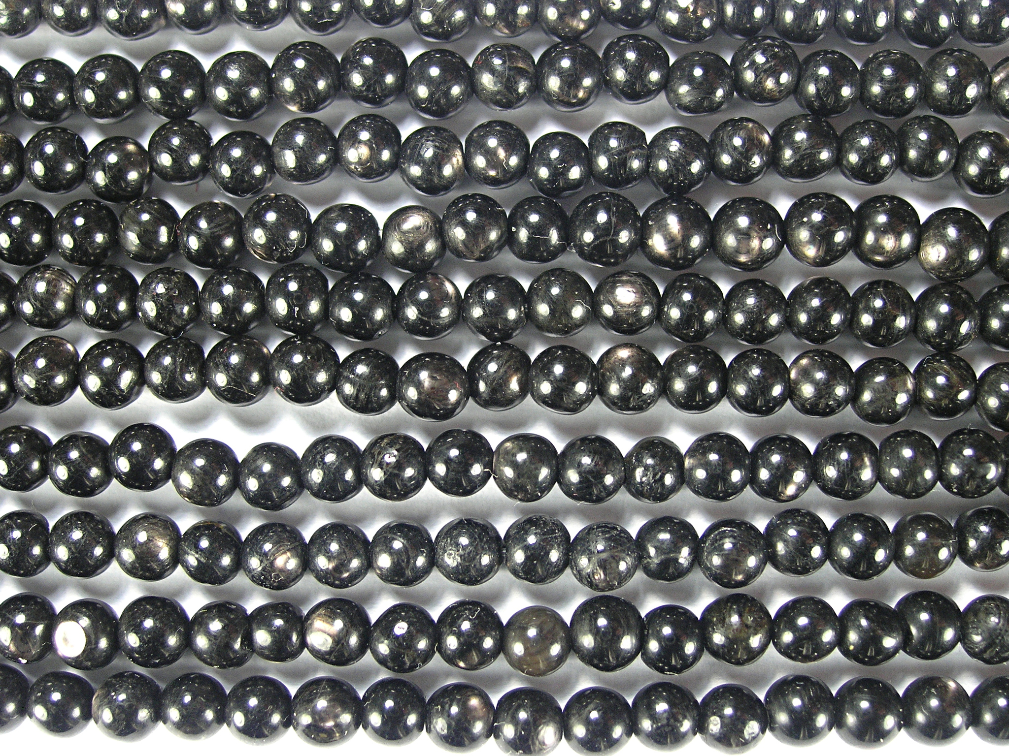 Нить бусин из гиперстена, шар гладкий 4мм