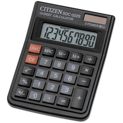 Калькулятор настольный КОМПАКТНЫЙ Citizen SDC-022S 10-разрядный черный