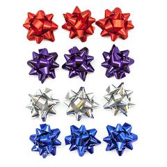 Бант Звезда, Зимний микс, Ассорти, Металлик, 5 см, 25 шт.