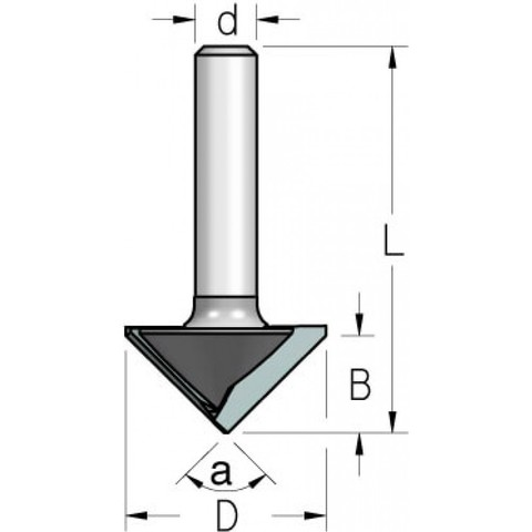 Фреза WPW VG90275 паз V для гибки гипсокартона на 90 гр. D26 B12,7 хвостовик 8,VG90275