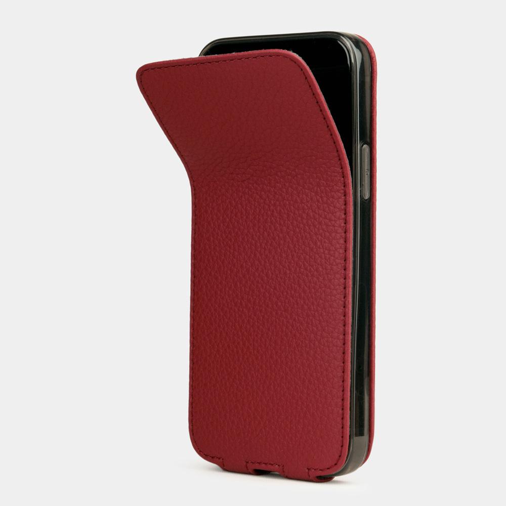 Чехол для iPhone 12 Mini из натуральной кожи теленка, вишневого цвета