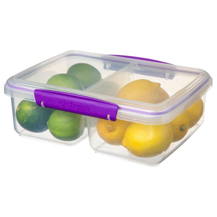"""Контейнер пищевой Sistema """"KLIP IT"""", двойной, 2 л, цвет Фиолетовый"""