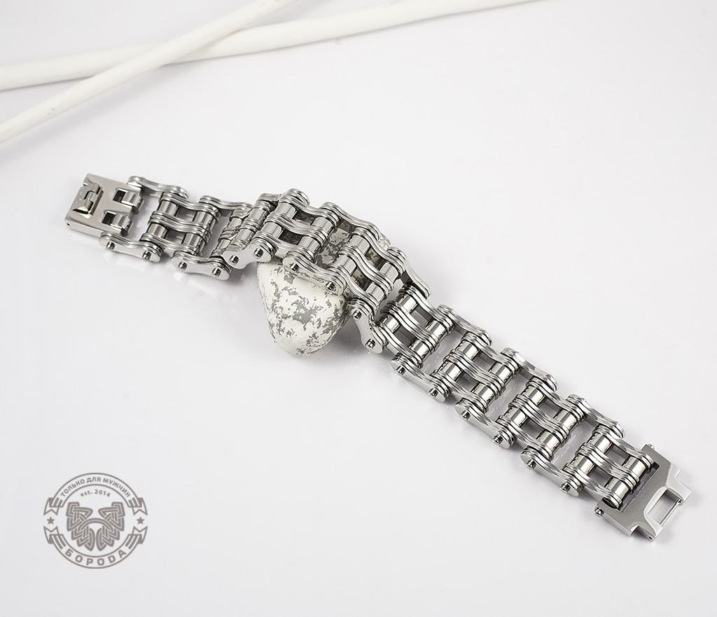 BM307 Широкий мужской браслет цепь из стали (22,5 см) фото 02