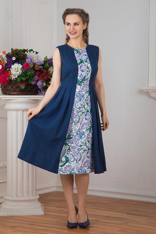 Платье Девица с узором гжель
